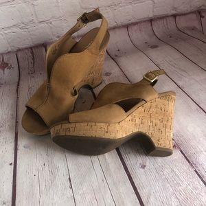 "[Franco Sarto] ""Gallard"" suede wedge cork sandal"